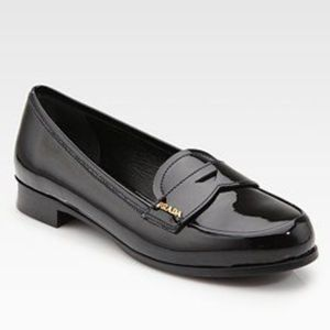 Authentic $595  Prada Patent Leather Logo  loafers
